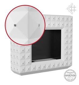 biokominek EGZUL z kryształami Swarovski biały mat