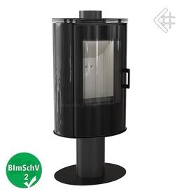 Piec wolnostojący KOZA AB S/N/O GLASS obrotowa z panelami kaflowymi - czarny